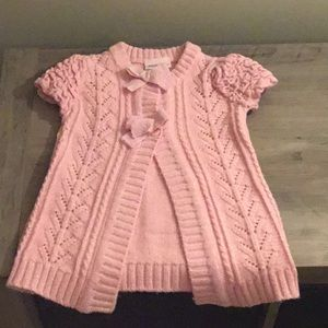 Little Lass pink glitter short sleeve sweater
